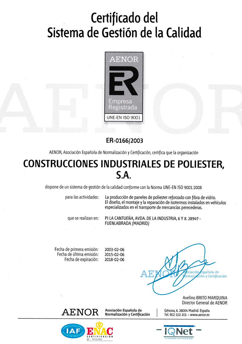 Certificado AENOR 2018