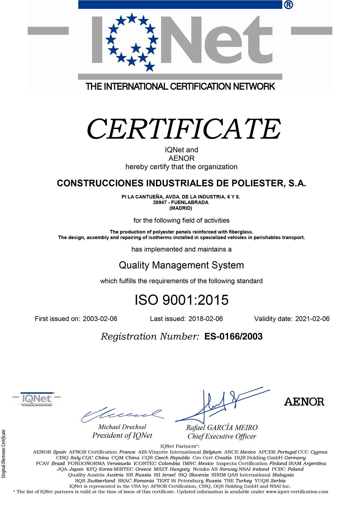Certificado IQNetES 2021